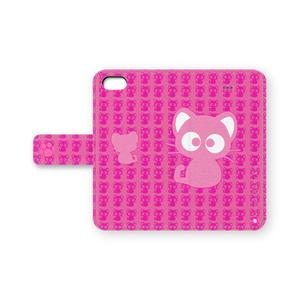 黒猫りっちー君手帳型iPhoneケース(ピンク)