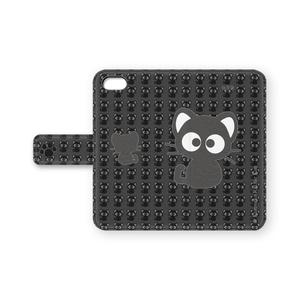 黒猫りっちー君手帳型iPhoneケース(ブラック)