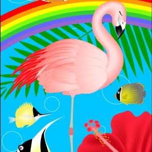 ポストカード095 フラミンゴの夢