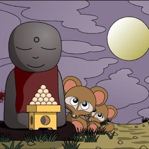 ポストカード121 地蔵とタヌキの月見と団子