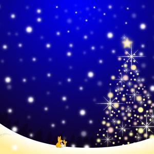 A4イラスト029 Snow Light Tree