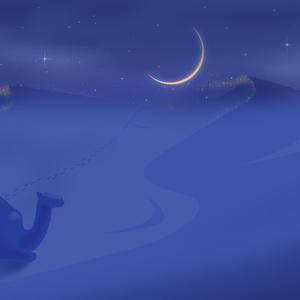 A4イラスト111 風と月と砂のアンサンブル