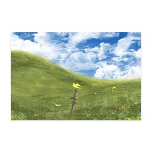 黄色の鳥と丘
