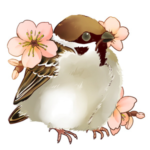 桜とスズメウッドキーホルダー