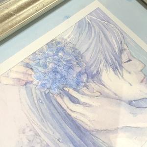 原画 額装ATC「雨の花かんざし」