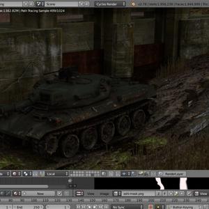 Blender作品「戦車と水門」のシーンデータ