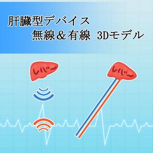 肝臓型デバイス 無線&有線 3Dモデル