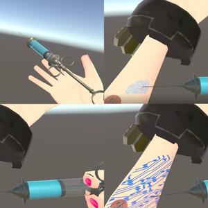 【VRChat向け】アンティーク風注射器(電子化する薬剤注入&採血シェイプキー設定済み)