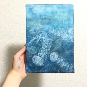 【オリジナル】【自家通販】キャンバス画アクリルイラスト原画「漂う」