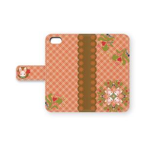 うさちゃんiPhoneケース (オレンジチェック)