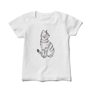 レディースTシャツ 猫のなぎまる・座る