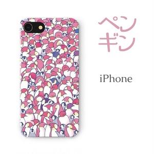 【送料無料】ペンギン大集合ピンク iPhoneケース(ハードケース全面プリント)