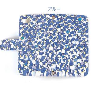【送料無料】ペンギン大集合ピンク/ブルー 手帳型スマホケース