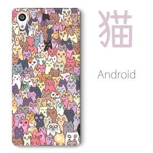 【送料無料】にゃんこ大集合 Androidスマホケース(ハードケース全面プリント)