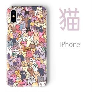 【送料無料】にゃんこ大集合 iPhoneケース(ハードケース全面プリント)