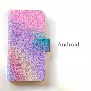 【送料無料】孔雀の羽根 手帳型Androidスマホケース