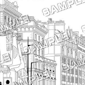 マンガ背景素材(イギリス ロンドン 高級住宅街)A-001