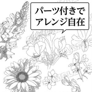 マンガ素材(花 フラワー アレンジ ガーベラ アルストメリア デルフィニューム 金魚草 花束 アレンジメント ガーデン 背景)
