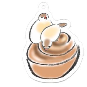 シナモン文鳥とシナモンロール(つがい)