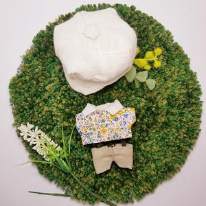 ぬい服 春夏物コーデ 花柄シャツ 麻キャスケット チノパンツ