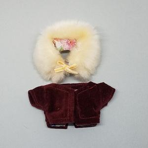ぬい服 ファーティペット付き ノーカラーコート 10cm 12cmサイズ