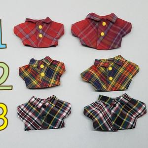 ぬい服 ボアジャケット ダルメシアンシャツ チェックシャツ グレンチェックパンツ 10cm 12cmサイズ