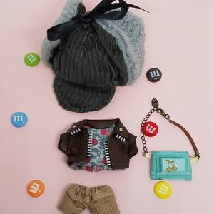 ぬい服 バレンタインシャツ 柄物シャツ ボアキャップ ベレー帽 チョコレートバッグ