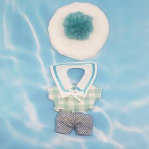 ぬい服 セーラーコーデ マリン風トップス ベレー帽 付襟 デニムパンツ