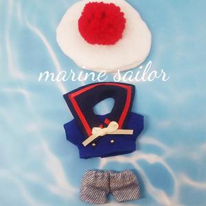 ぬい服 セーラーコーデ 追加カラー マリン風トップス ベレー帽 付襟 デニムパンツ