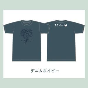 花降るTシャツ/デニムネイビー