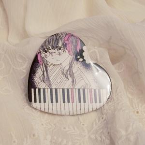 少女の夢缶バッジ - ピアノハート缶バッジ