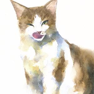 《原画》ペロリ猫 水彩画