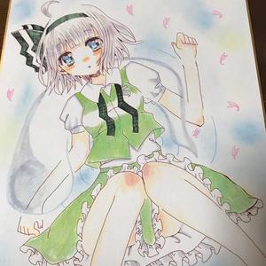 魂魄妖夢 手描き色紙
