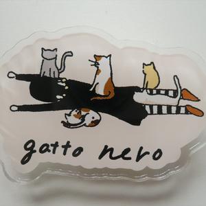 猫とリゾットのアクリルバッジ・クリップ