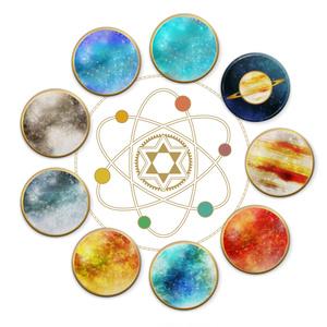 太陽系8惑星と冥王星缶バッジ(全9種)