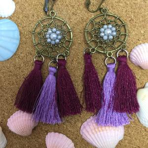 ドリームキャッチャーのイヤリング(左上紫A)