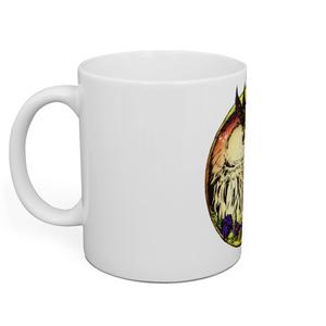 マグカップ:梟の星空と草花添え