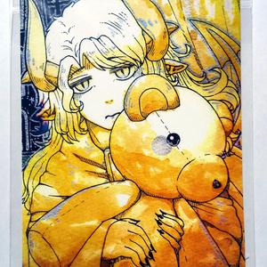 熊ぬいぐるみの悪魔F 紅茶絵ポストカード