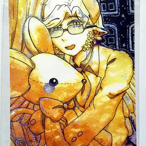 鼠ぬいぐるみの悪魔K 紅茶絵ポストカード