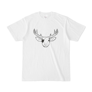 眼帯を付けた鹿のTシャツ