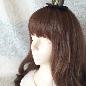 ミニハット(ドルマン風・サテングリーン猫)