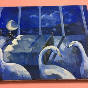 原画「月におやすみ」