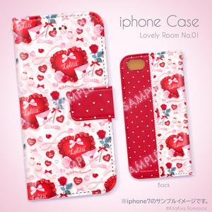 手帳型iPhoneケース[Lovely Room No.01](シルキーホワイト×レッド)