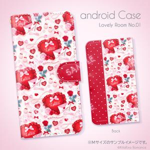 手帳型Androidケース [Lovely Room No.01](シルキーホワイト×レッド)