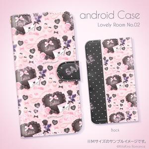 手帳型Androidケース[Lovely Room No.02](パウダーピンク×ブラック)