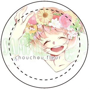花束ちゃん缶バッチ