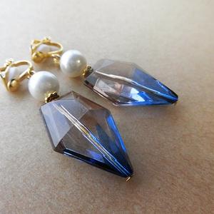パール×ヴィトライユのイヤリング(blue×brown)