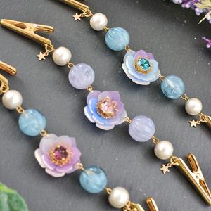 【オリジナル】宙色の花と星のストールクリップ