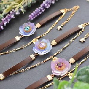 【オリジナル】宙色の花と星のブレスレット