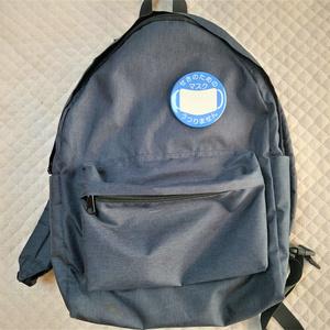 マスクマーク 青色 缶バッジ(76mm・57mm)